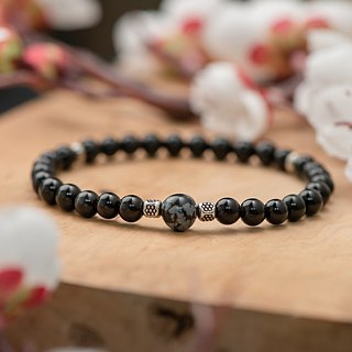 Obsidian series. growing up. Snowflake obsidian single layer bracelets.
