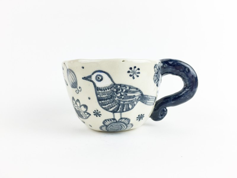 Nice Little Clay Handmade Cup _ Bird and Flower 18