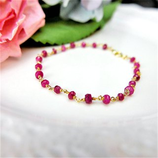 [Lalune] July Birthday Stone - Handmade Ruby Yellow K 925 Sterling Silver Bracelet (XS)