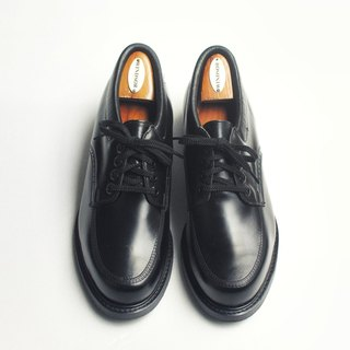 70s American Black stupid shoes | Knapp Moc Toe Work Shoes US 9.5D EUR 4243 -Deadstock