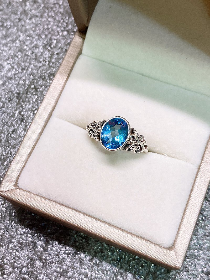 Nepalese style topaz ring Nepalese handmade 925 sterling silver