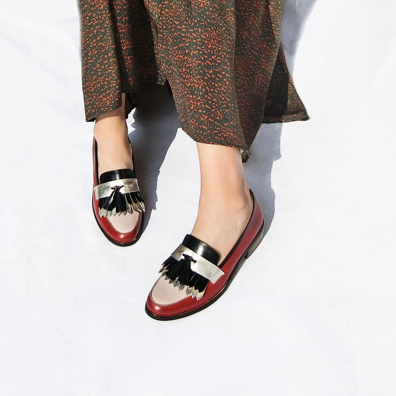 Skirt leather loafers || Irish bard red apple || 8182
