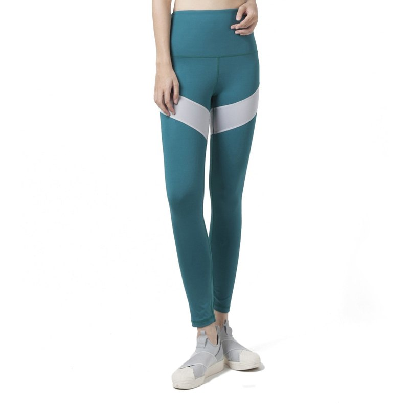 Engage High Waist Leggings in aquatic green / grey.