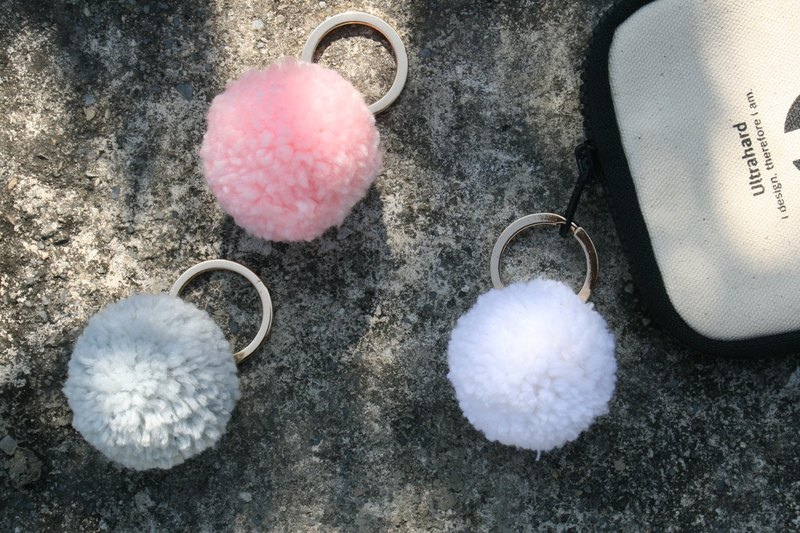 Handmade leather - wool ball key ring charm / can be engraved English name