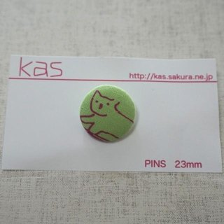 "Hand printed original covered button pin badge""cat"""