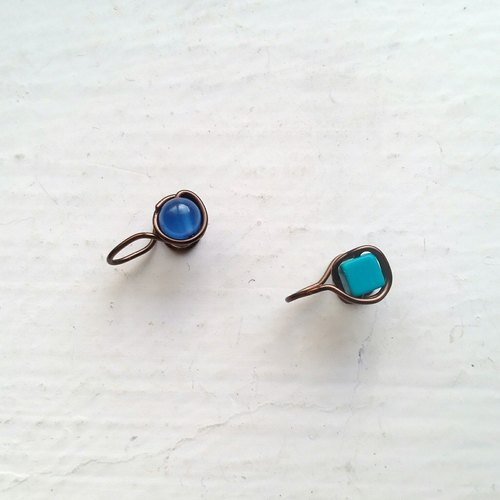 Blue agate painless clip earrings