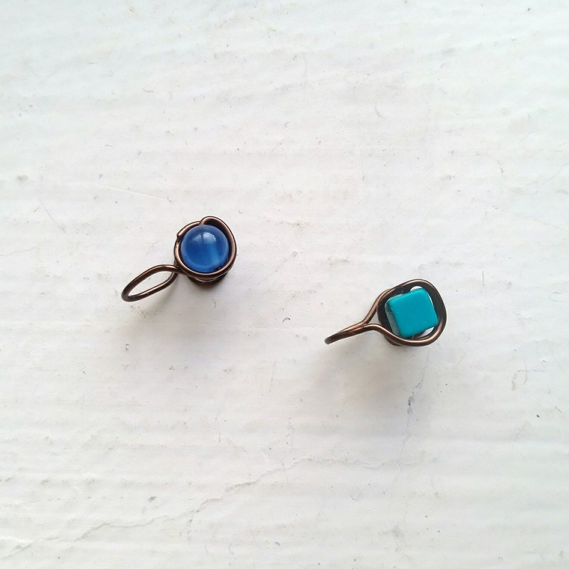 Blue agate Painless Clip-on Earrings