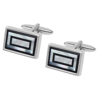Onyx and Mother of Pearl Double Rectangle Cufflinks