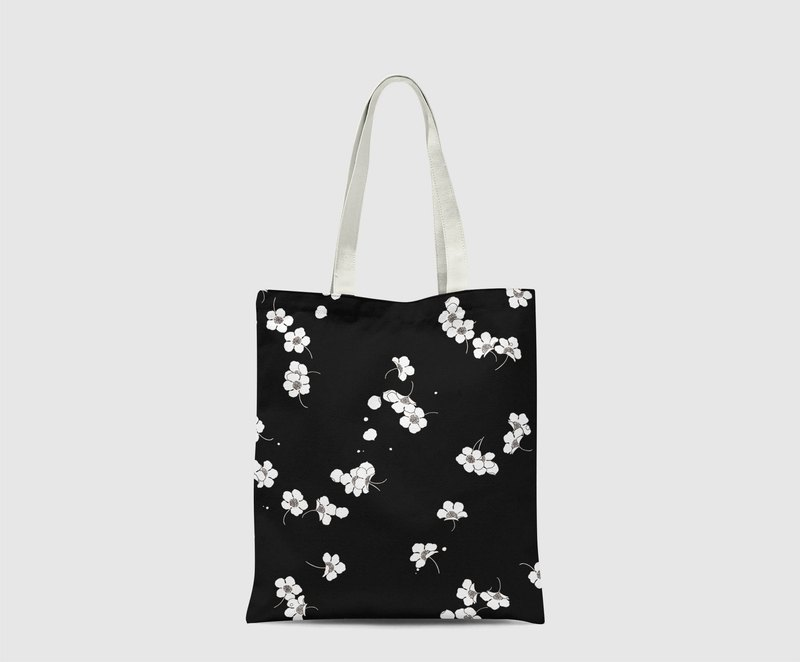 Black background floral sakura Pattern Tote Bag hand bag