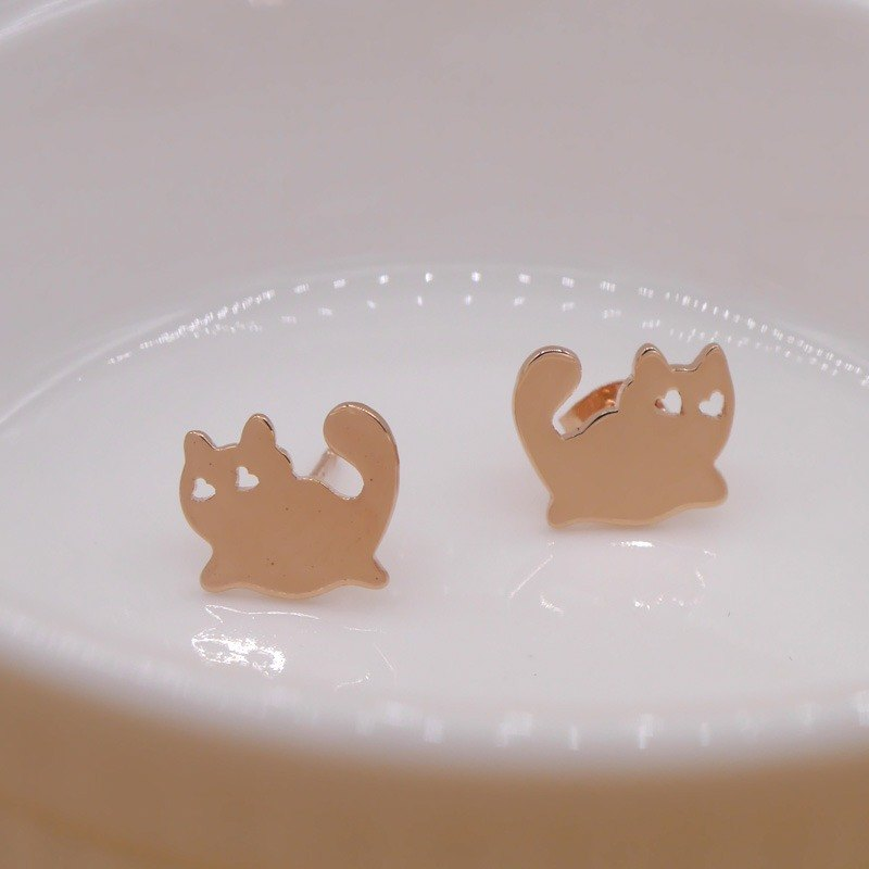 Handmade Little Cat Earring - Pink gold plated on brass