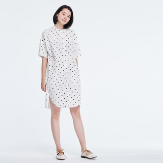 Kurta Short Sleeves Print  Midi Dress White