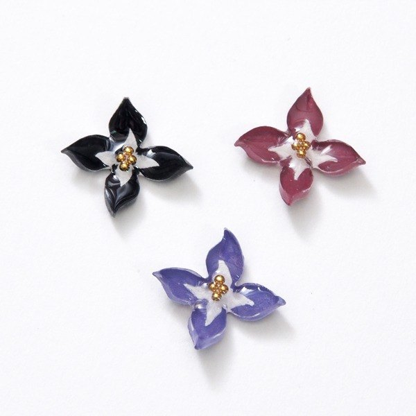 Cross flower (one pair of) hand-painted hand-made ear can not allergic steel needle / adjustable folder - rotating adjustable elastic