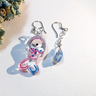 Fish and water _ transparent resin _ hanging earrings _ cute route _ imagine the feeling of fish shaking in the ear