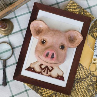 Paper Pig pig with wood photo frame