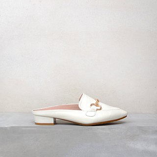 Classic white muller handmade shoes