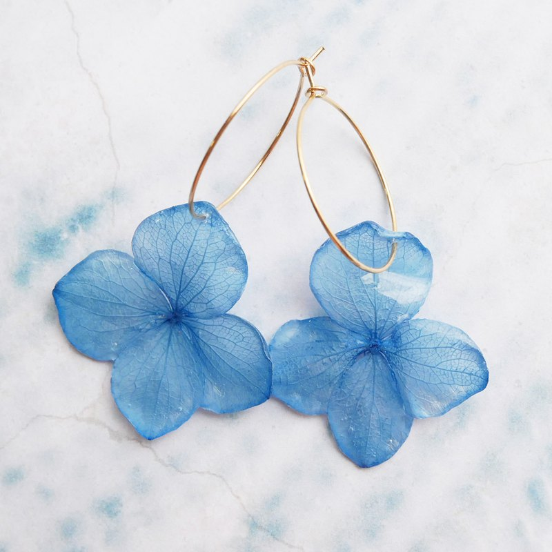 Real hydrangea hoop earrings