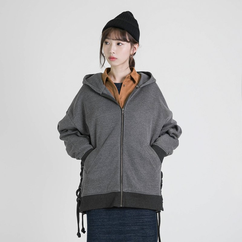 Freedom Happy Strap Hooded Jacket _8AF306_ Gray