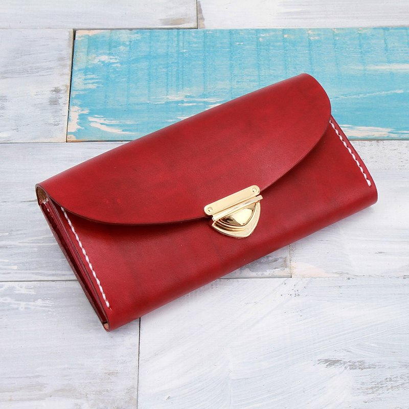 [Cut line] leather handmade organ wallets / large capacity ladies retro long folder 006 buckle buckle hand dyed red