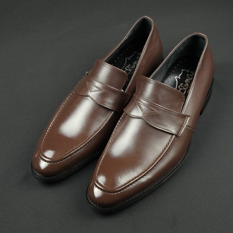 Classic gentleman Penny leather loafers - chocolate