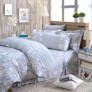 Increase the size of the flower language (blue) - Tencel dual-use bed cover six-piece group [100% Lysell]