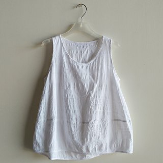 Spot micro-small stitching vest stencil cotton white