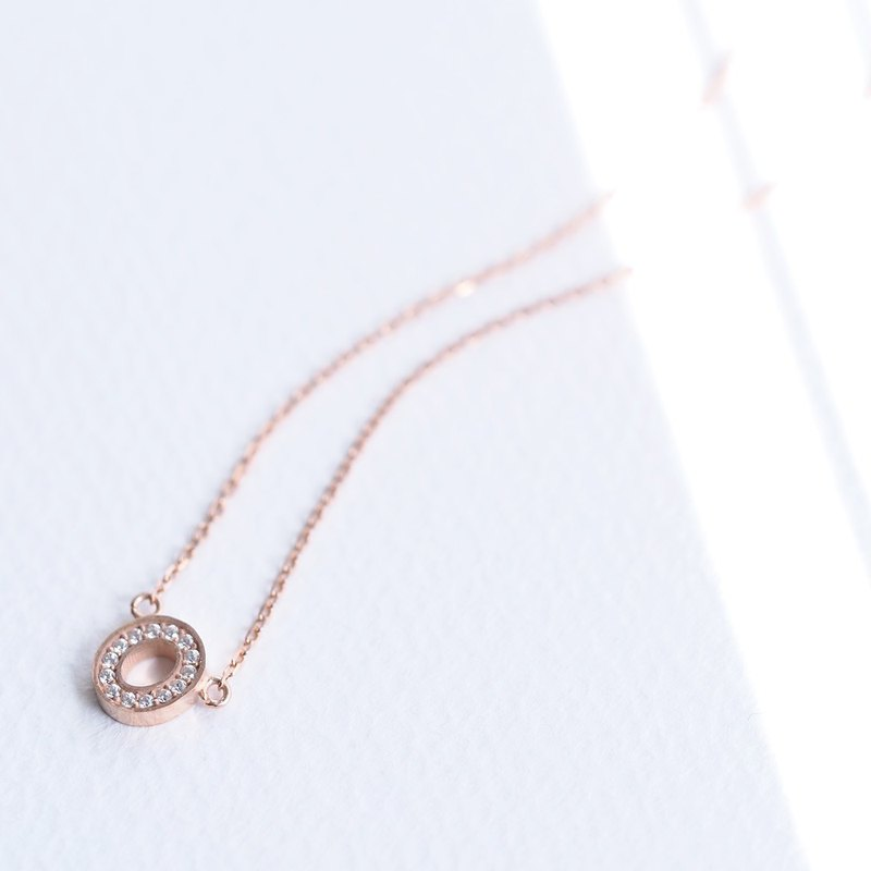 Stone pink gold round necklace silver 925