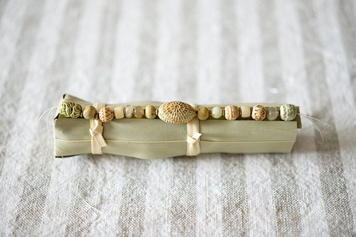 """Breath"" Cambodia old ceramic beads stone bracelet"