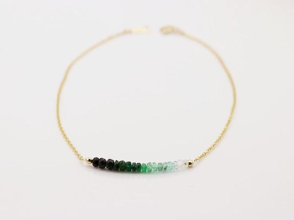 Good luck and happiness Stone symbolizing wisdom Gradient emerald anklet May birthstone