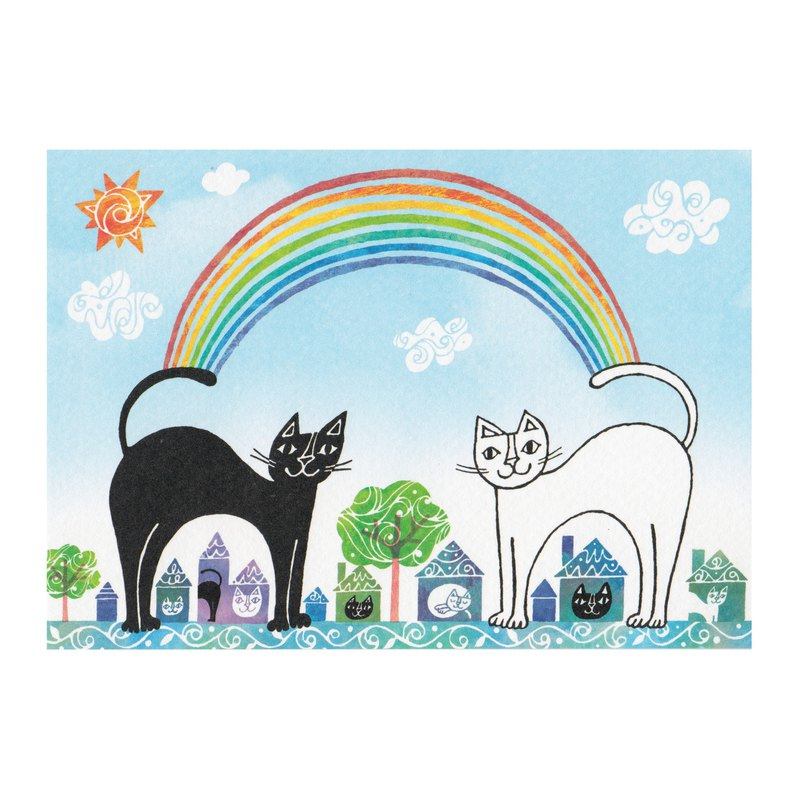 Japanese illustrator Okabe Tetsuo cat postcard [Rainbow Bridge between me and you]
