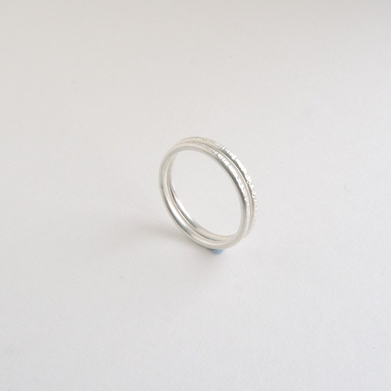 Wood grain-two-piece sterling silver ring