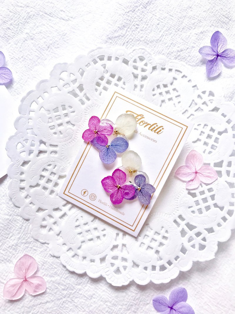 Handmade 3 colours Hydrangea 18K Gold Plated Earing