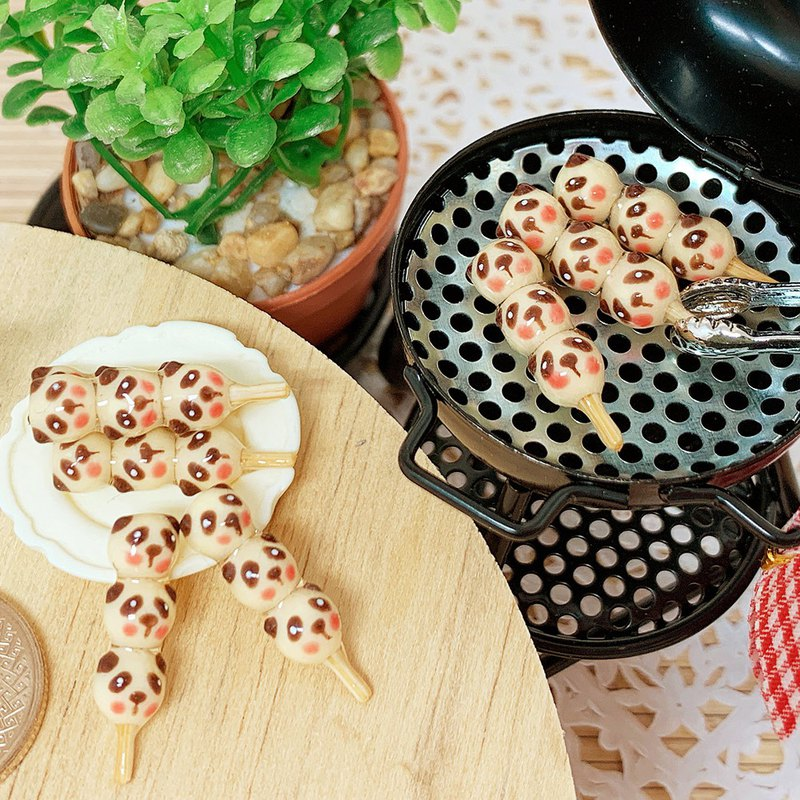 Simulation food cat and bear three string meatball earrings anti-allergic ear clip ear clip