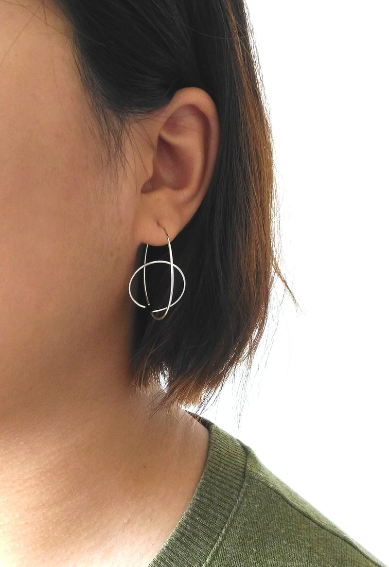Sterling Silver Earrings, Line Light Series Double Loop Light Earrings Taiwanese Designers Handmade