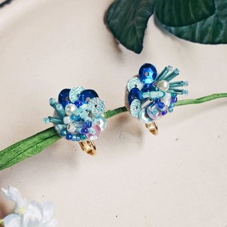 Small organic blue stereo three-dimensional embroidery earrings