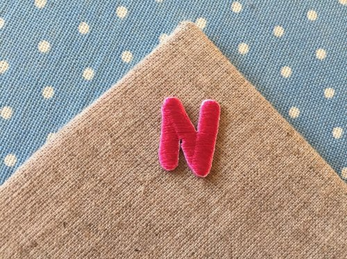Capital letters N-self-adhesive embroidered cloth stickers