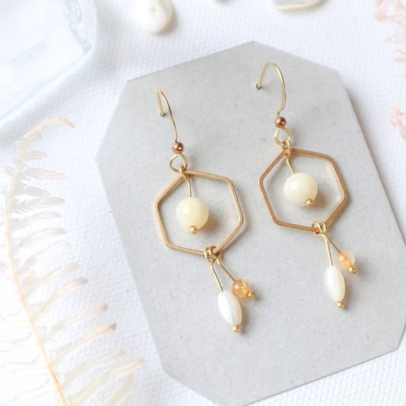 Natural stone geometric brass earrings - moon halo