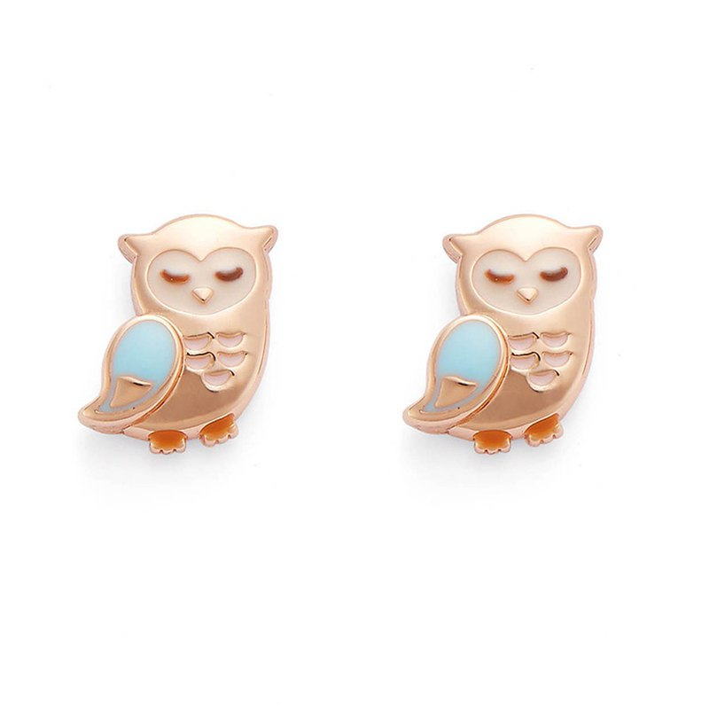 [正韩]PY Sky Blue Owl Earrings 16K Rose Gold