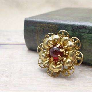 Brass and glass, Flower 2way broach, Pendant, Deep red, Vintage, Antique