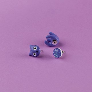 Purple Polymer Clay Earrings - Purple Spring Cat Earrings