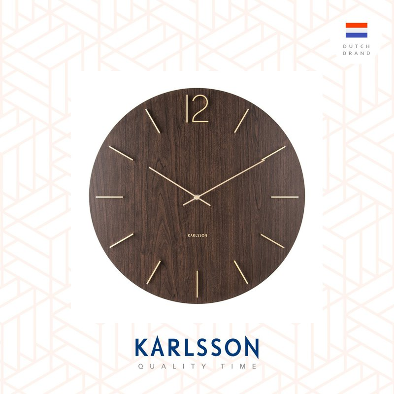 荷蘭Karlsson, 50cm Wall clock Meek 深木色鋼材刻度掛鐘