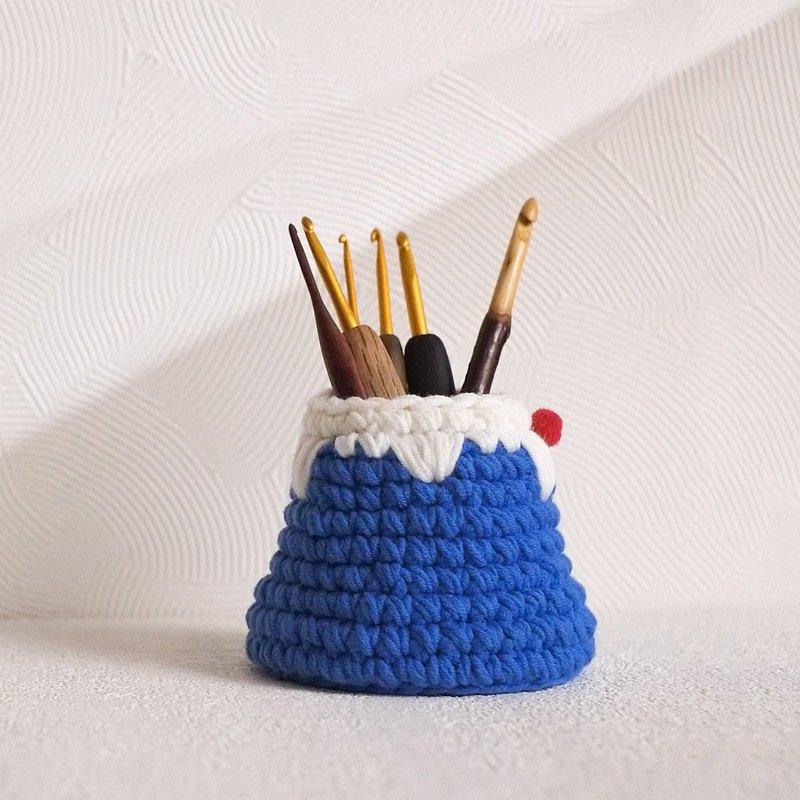 毛線編織 富士山筆筒