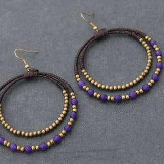 Woven Hoop Earrings Amethyst Beaded Woven Chandelier Dangle Drop Earrings