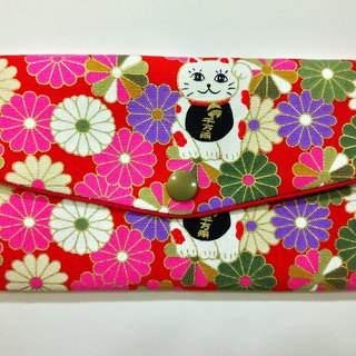 Lucky double red envelope bag / passbook storage bag (09 marigold and Lucky cat)