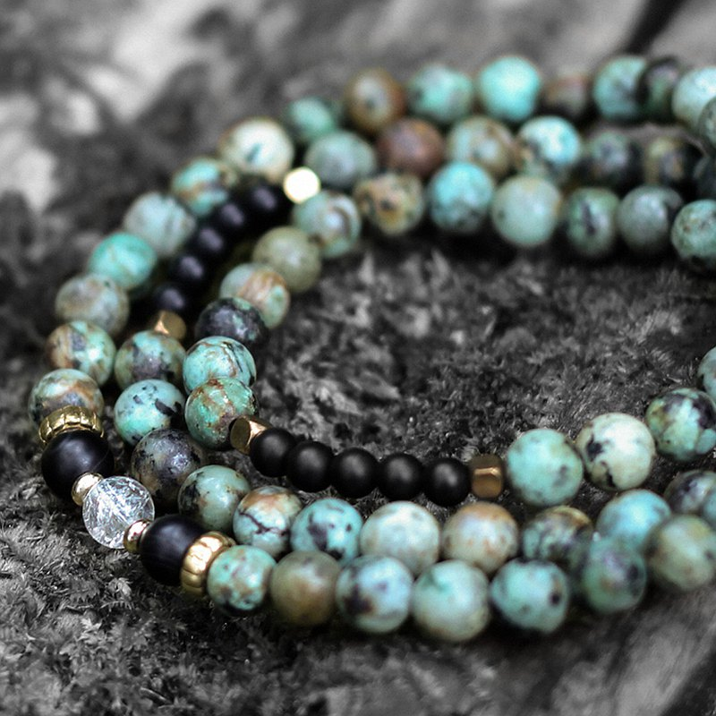 Spirit. Natural ore three-strand rosary African turquoise black agate white crystal