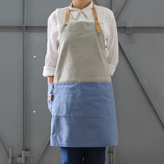 DailyAPRON dual colour washed canvas apron with leather strap