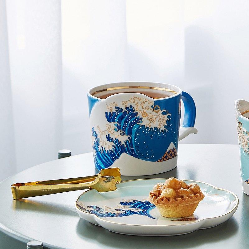 日本浮世繪海浪 樂滔滔馬克杯(深藍)-葛飾北齋/歌川國方貓咪