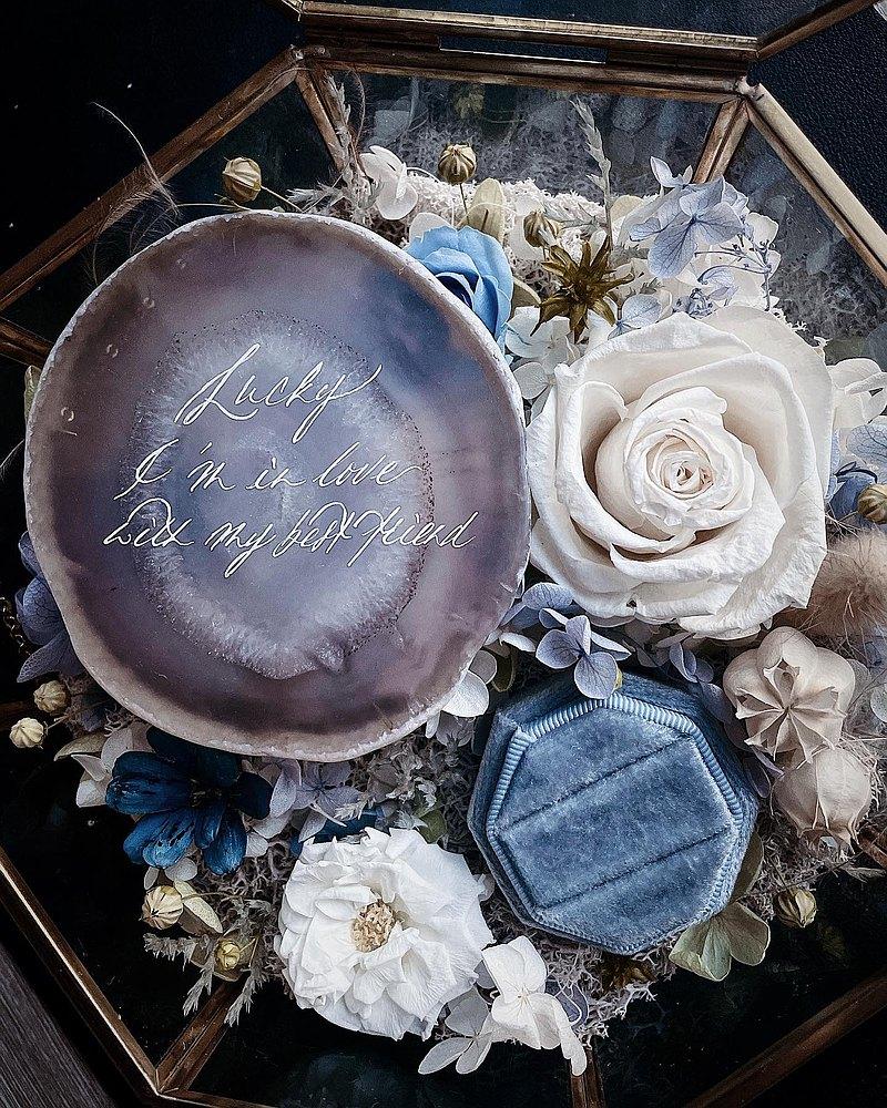 永生花乾 求婚/ 結婚介指花盒 + 手寫瑪瑙片一對