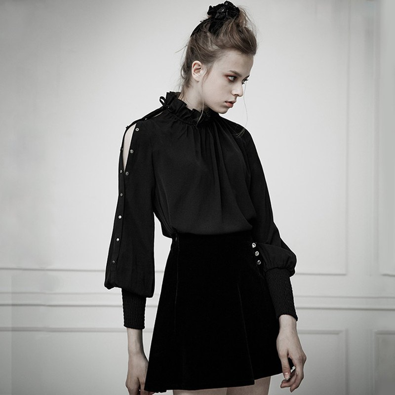 Gothic high collar chiffon shirt