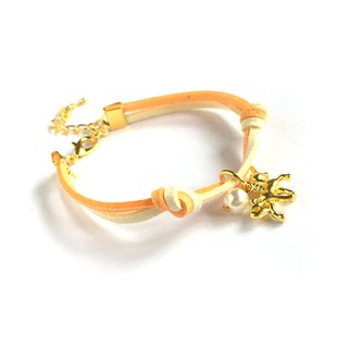 Handmade Simple Stylish Unicorn Bracelets Gold Series–orange
