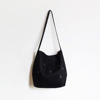2 way cat soup tote bag : black